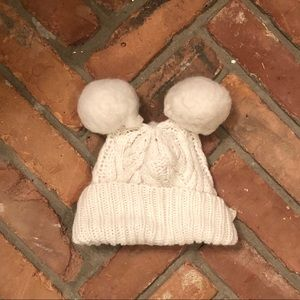 Baby Gap Girls Cream Knit Hat With Pompoms